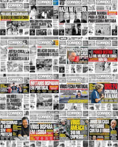Capas do CM entre 3 e 18 de março de 2020 com notícias sobre pandemia destacadas (quadros a cor).