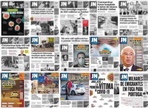 Capas do Jornal de Notícias entre 3 e 18 de março de 2020 com notícias sobre pandemia destacadas (quadros a cor).