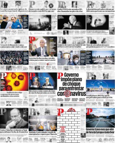 Capas do Público entre 3 e 18 de março de 2020 com notícias sobre pandemia destacadas (quadros a cor).