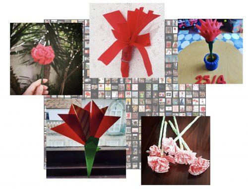 Colagem de fotografias: A ausência de cravos naturais gerou criatividade na celebração do 25 de Abril