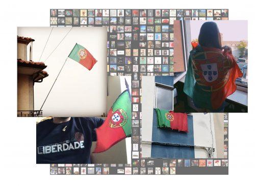 Colagem de fotografias: A bandeira portuguesa como símbolo da comemoração do 25 de Abril de 2020