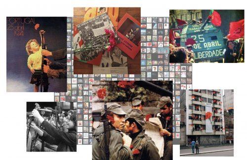 Colagem de fotografias: Imagens simbólicas da celebração do 25 de Abril que remetem para o ano de 1974