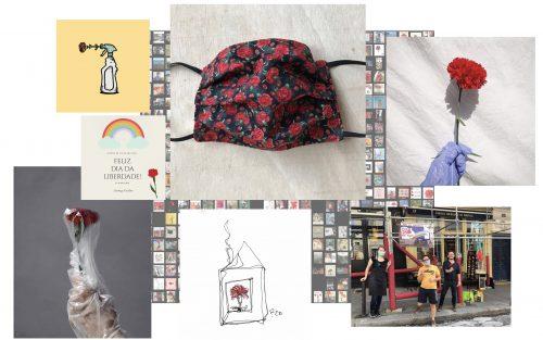 Colagem de fotografias: Imagens que contextualizam as comemorações do 25 de Abril em 2020 ao Covid-19