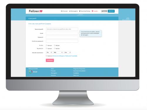 Página do Felizes.pt onde o utilizador dará início ao seu registo e construirá o seu perfil