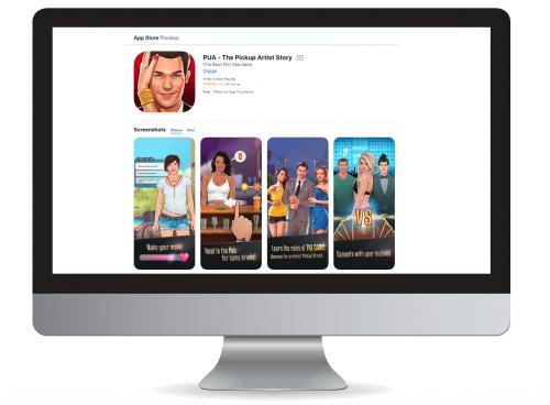 Figura 11: Ecrãs da aplicação PUA - The Pickup Artist Story. Fonte: App Store.