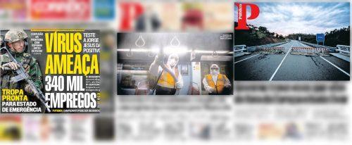 Representação do 'combate ao vírus' nas primeiras páginas do CM (esquerda) e Público.