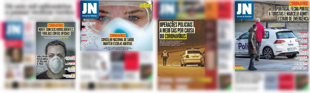 Imagens que remetem para a narrativa de combate ao vírus nas primeiras páginas do Jornal de Notícias.