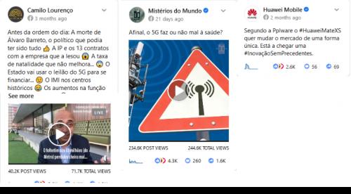 Figura 4 - publicações relacionadas com 5G com mais interacções no Facebook entre 1 de janeiro e 29 de abril de 2020 em Portugal.