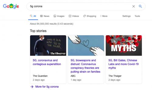 Figura 5 - Busca pelos termos 5G e Corona no Google encontra mais de 64 milhões de resultados.