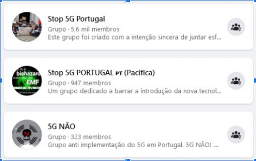 Figura 6 - Grupos relacionados com 5G no Facebook em Portugal.